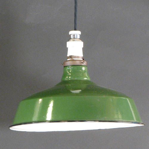 14 inch Green Enamel Shade with Original Porcelain Socket on Cloth Cord