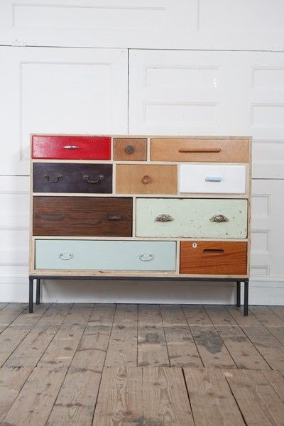 """These are designed by Rupert Blanchard. He says: """"I collect hundreds of drawers, doors, fittings and fixtures before finding the right combination to construct a new piece.  I only use broken, discarded and odd drawers that no longer have a carcass therefore work can often sit unfinished for many months as I search for the elusive, perfect drawer to finish the design.  The search can take me far and wide building relationships with second-hand furniture dealers, car boot sellers, market…"""