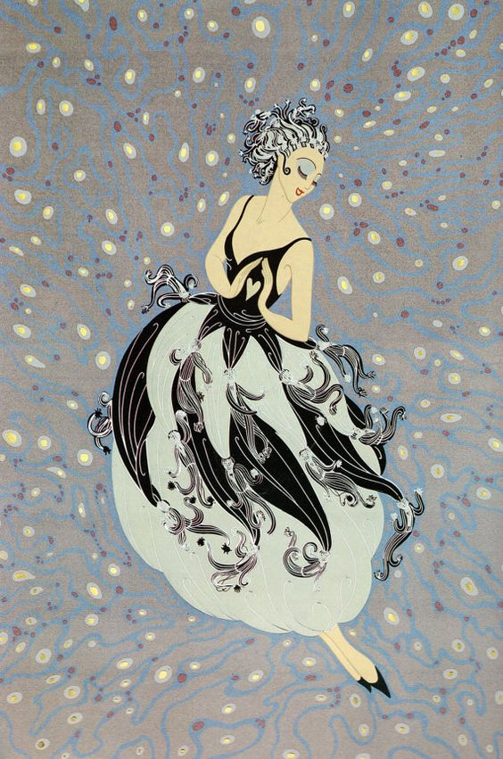 "Chic Original Vintage ERTE Art Deco Print ""TUXEDO"" Fashion Book Plate:"