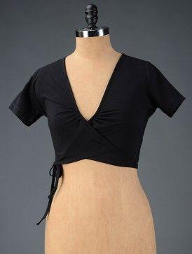 Black Cotton Lycra Blouse By Bandhej