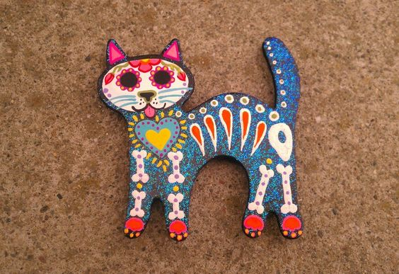 Sugar Skull Cat - Flaked Blue - Magnet