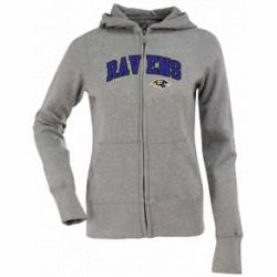 Sales Antigua AN-766517729239 Baltimore Ravens Womens Zip Front Hoody Sweatshirt in Grey - Large new - This sporty and ultra-comfortable sweatshirt features full chest applique embroidery. 80% cotton/ 20% polyester fleece zip front with...