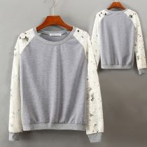 Women's New Fashion Round Neck Lace Floral Sleeves Sweatshirts Splicing Outerwear