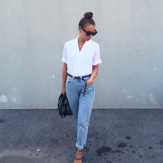 "Alice B. on Instagram: ""I just love this wrap front shirt with a good pair of boyfriend jeans  #ootd #asos #frenchstyle"""