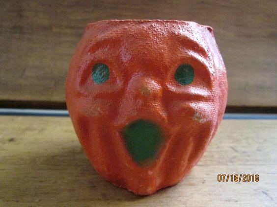 Vintage Halloween Mache Candy Container  Jack O Lantern
