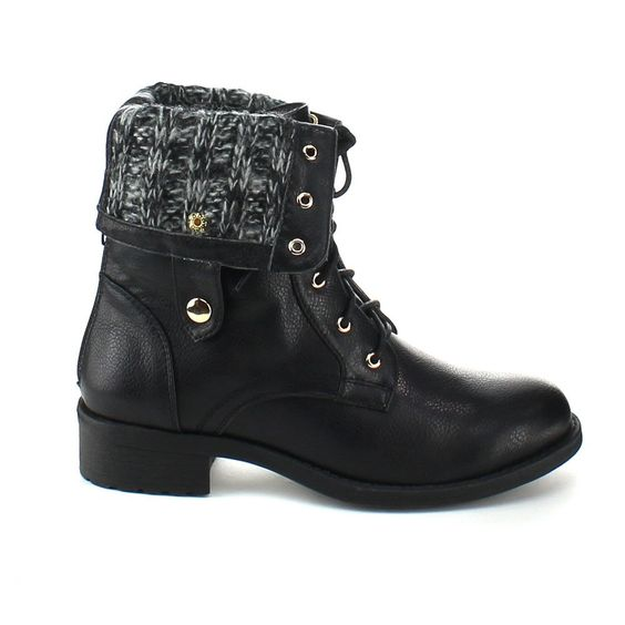 Amazon.com: REFRESH DASON-03 Women's Cuff Military Low Heel Lace up Mid-calf Riding Combat Boot: Clothing