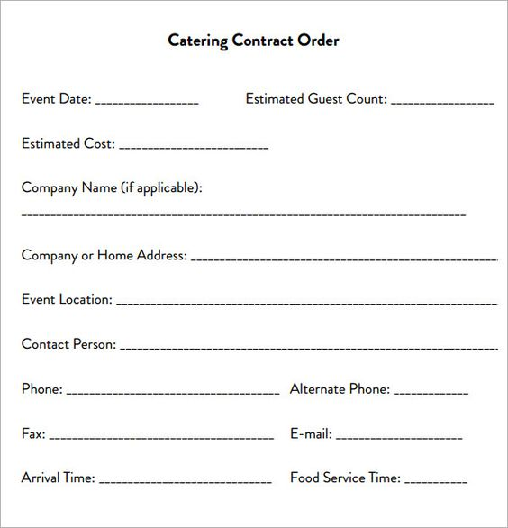 Catering Contract Agreement  Algo De Todo    Contrato