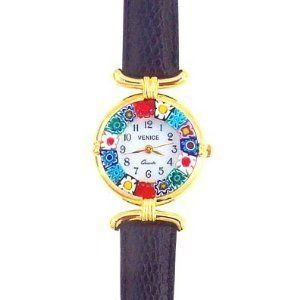 Venezia Millefiori Watch - Black Band & Gold Murano. $42.99