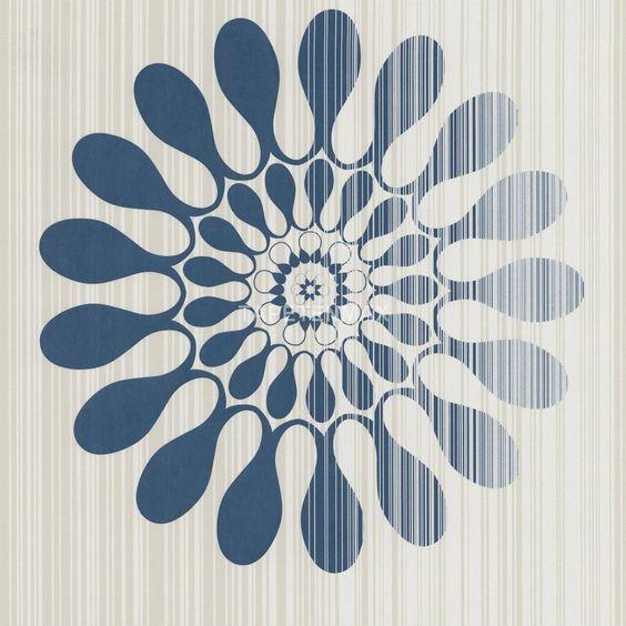 Ein modernes Muster in beige/blau zeigt die Vliestapete 51552 aus ...