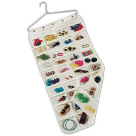 80-Pocket Jewelry Organizer. Clear pockets on both side of this hanging organizer makes finding the right piece of jewelry easy, without taking too much closet space. Great for buttons, craft supplies, hair clips and more!