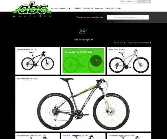 Conception de la boutique en ligne ABC Cycles & Sports de Montréal par Chocolat Média