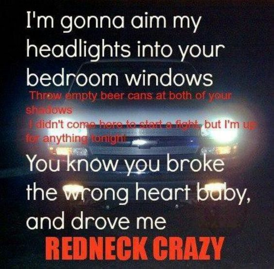 I'm gonna aim my headlights into your bedroom windows Throw empty beer cans at both of your shadows. I didn't come here to start a fight, but I'm up to anything tongiht. You know you broke the wrong heart baby, and drove me redneck crazy. Redneck crazy, Tyler Farr