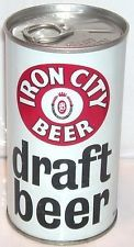 HTF Iron City Draft Beer Blk Letters SS Collectible Beer Can Pull Tab High Grade