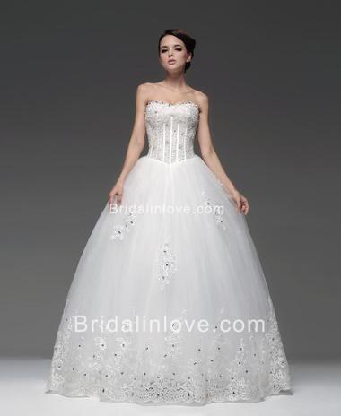 Ball Gown Princess Sweetheart Floor Length Net Wedding Dress [#BL26419] - Bridalinlove.com