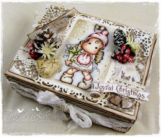 "Decorated box by LLC DT Member Tina ""Tinchy"" Makuc. Papers from Maja Design's Vintage Frost Basics collection and image from Magnolia.:"