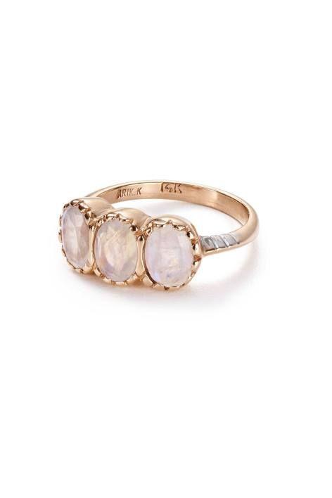 Moonstone Trinity Ring in 14k Rose Gold by Arik Kastan | Pinned by topista.com