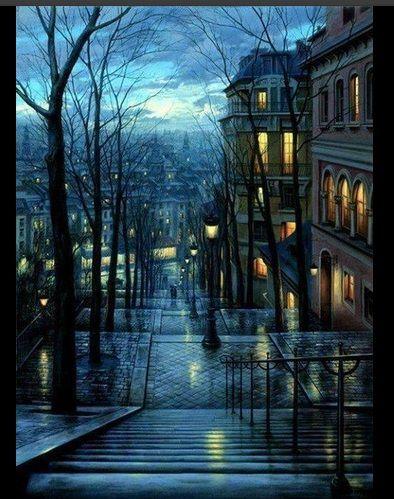 Hermosa noche de lluvia en Paris