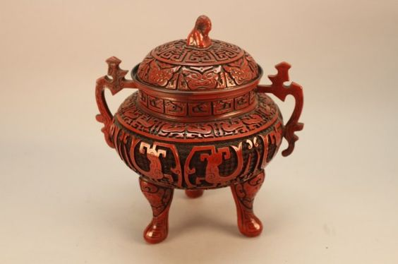 Chinese Cinnabar Lacquered Censor : Lot 17