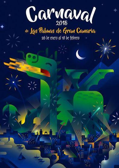 Cartel Carnaval Las Palmas 2017  Tematica: Magia y otras criaturas fantásticas. Autor: Faggiano
