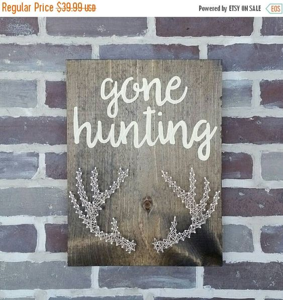 $39 Etsy ON SALE Gone Hunting String Art Antlers Man Cave Handmade by NailedItDesign.etsy.com