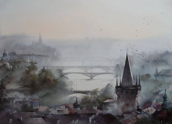 "Painter: Ilya Ibryaev  - MORNING IN PRAGUE - (from the series - ""Pigeons of Prague"") - watercolor (73х53) cm:"