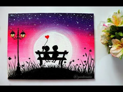 A Romantic Moonlight Night Scenery Painting For Beginners Step By Step Tutorial Youtube Moonlight Painting Love Canvas Painting Poster Color Painting