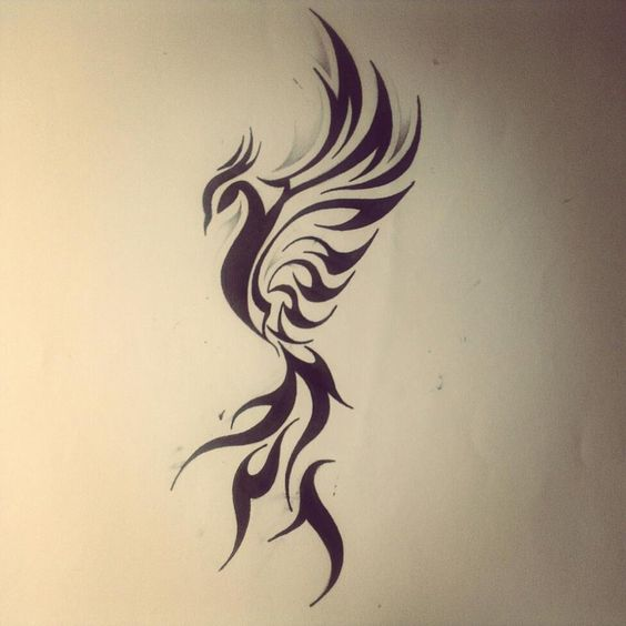 abstract minimal phoenix bird images | black-tribal-dragon-bird-tattoo-design.jpg