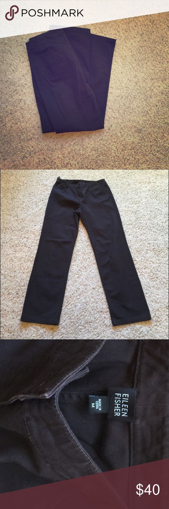 Eileen Fisher Cotton jean-style pants EUC Eileen Fisher pants in a straight leg jeans style. Flat front with pockets on the back. Dark chocolate brown. Cotton with a hint of stretch. Eileen Fisher Pants