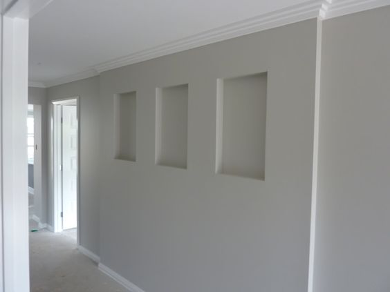 Dulux Grey Pebble / love the cutouts in the walls. Feel ripped off still that I did t get mine!