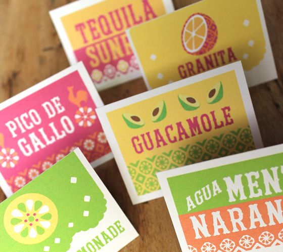 Diy Drinks Food Printables: Mexican Printable Signs: Instantly Download Easy Party DIY