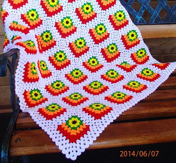 Crochet mitered granny square blanket by Katarina D