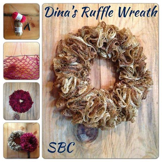 DIY Super Easy Ruffle Wreath Supplies: 1 skein Boutique Sashay Yarn ...I used golden metallic and ruby metallic for the two pictured...... Wire coat hanger wire cutters pliers Instructions: Cut wire coat hanger to the length you want. Thread the yarn into the wire ...I used every third hole. When finished bend a loop into the end if the wire on one end. Thread the other end into the loop and bend that into a loop to close. Fluff yarn ruffles how you want it. You could add a poinsettia…