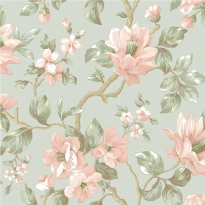 AL13724 Blue Large Floral Vine Wallpaper - Artistic Illusion by Chesapeake