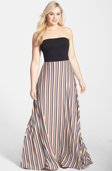 FELICITY &amp COCO Stripe Strapless Maxi Dress (Plus Size) (Nordstrom ...