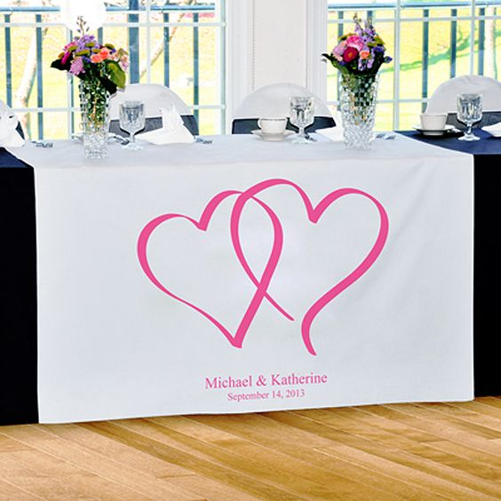 Two Hearts Table Runner - Love Collection Table Runners. FREE Personalization. $100.99