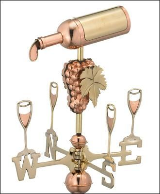 "Wine Bottle Garden Vane - 8843P - Our maintenance-free Garden Weathervanes combine classic design with high-quality craftsmanship. Dimensions - Figure: 9""L x 9""H x 3""W  Directionals: 11""L x 6.5""H"