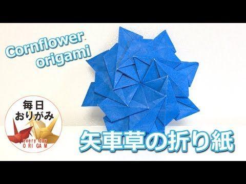 1枚で折るかっこいい矢車草の折り方 Cornflower Origami Youtube 折り紙 星 矢車草 折り紙 花