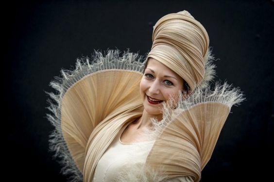 Model Katrin Juchems wearing Waltroud Reiner's outfit.