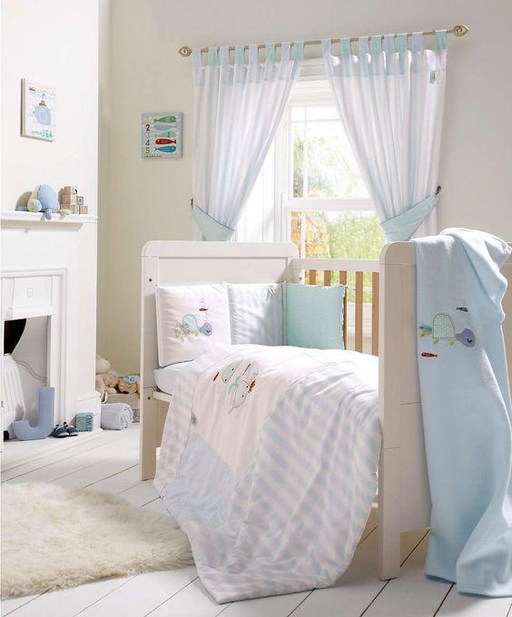 Bubble Blue - 5 Piece Cot/Cotbed Bedding & Curtains Set - Bubble ...