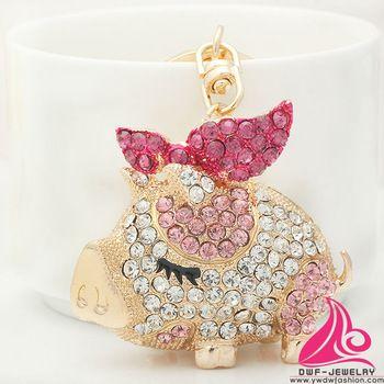 New Cute Plump Crystal Bow Pig Keyring Fashion Rhinestone Animal Alloy Cheap Purse Hanging Key Chain