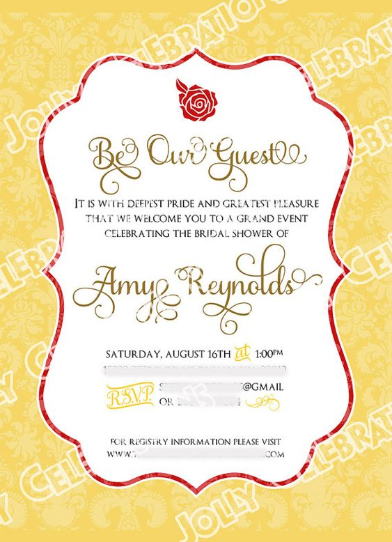 Beauty And The Beast Baby Shower Invitations / Die Cut Hand Mirror PRINTED  | Shower Invitations, EBay And Babies