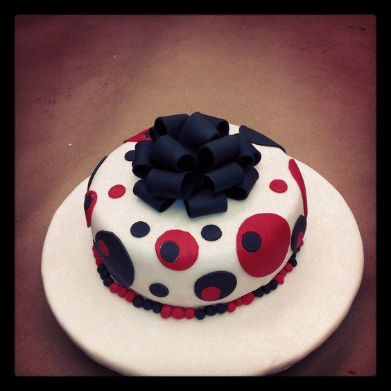My polka dot cake made with fondant.