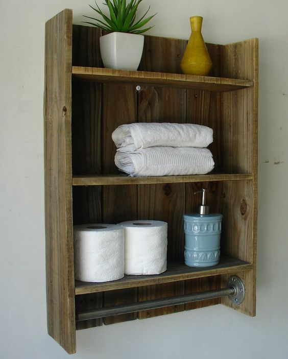 rustic reclaimed wood 3tier bathroom shelf with towel by
