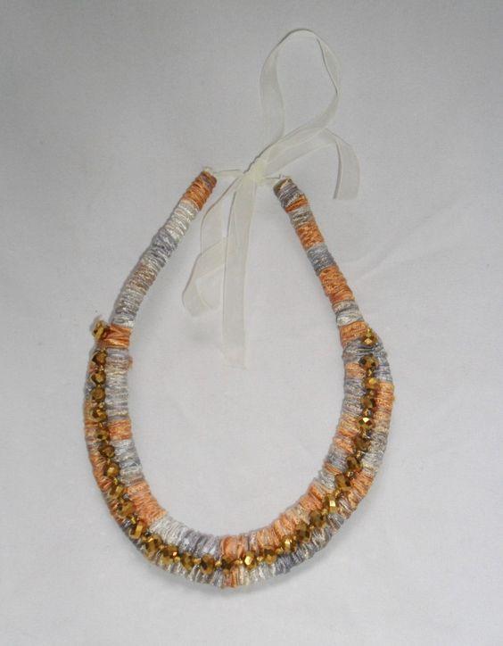 Colar de corda dupla coberta com fita mesclada, aplicação de cristal dourado…