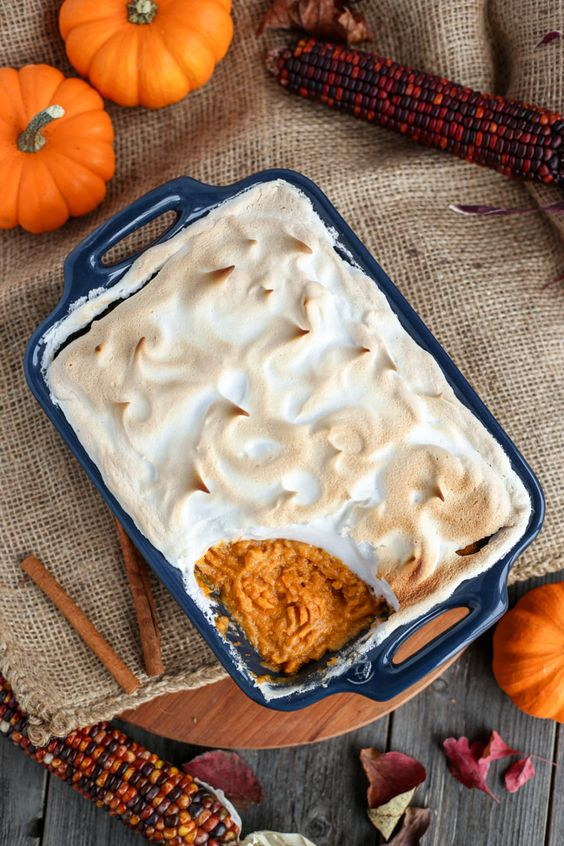 "Vegan Sweet Potato Casserole with Aquafaba ""Marshmallow"" Topping - ilovevegan.com:"