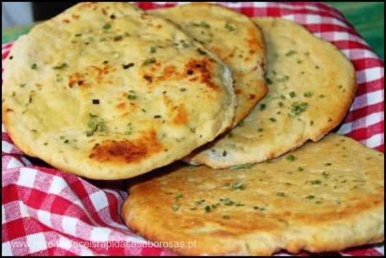 Pão pita de alho e cebolinho http://www.receitasfaceisrapidasesaborosas.pt/pao-pita-de-alho-e-cebolinho-478600