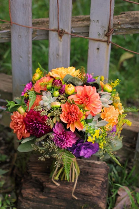 Colorful September bouquet with loads of dahlias