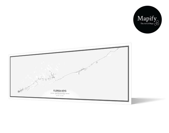 Florida Keys FineArt Panoramic Map Print Poster  Mapify Ultra