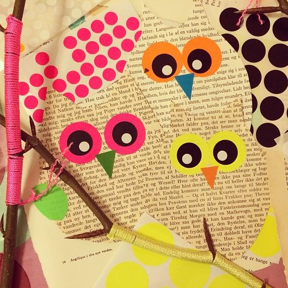 Ugler af gamle bøger pimpet med dots. Owl templates from old books pimpet with neon dots... mitkrearum.dk