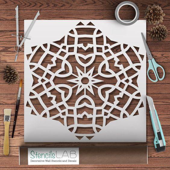 Este dise o mandala geom trico stencil plantilla de - Plantilla mandala pared ...